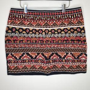 H&M Beaded Embroidered Geometric Mini Skirt